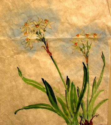 Paperwhites painting with blue background
