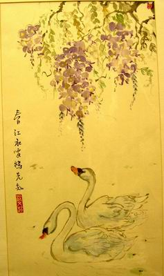 Swans and wisteria