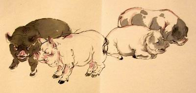Pigs in dry brush style