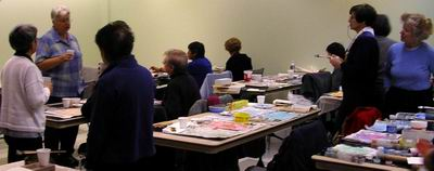 Participants begin working on their own treated paper