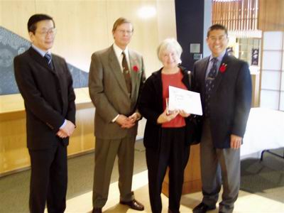 Left-to-right: Consul-General of Japan, Koichi Kawakama, President of the Sumi-e Artists of Canada, Gary Bist, Ruth Yamada Award winner, Morven Crothers, President of the Japanese Canadian Cultural Centre, Martin Kobayashi